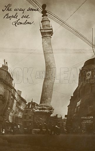 Distorted view of Nelson's Column, London. Postcard, early 20th century.