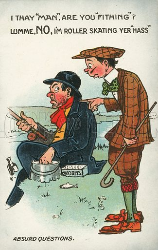 Man asking a stupid question of another man fishing. Postcard, early 20th century.