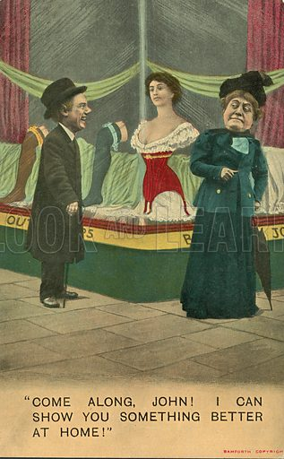 Husband distracted by women's underwear in a shop window while out shopping with his wife. Postcard, early 20th century.