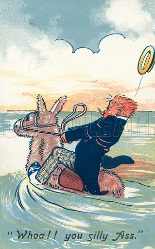 Man struggling to ride an ass as it runs into the sea. Postcard, early 20th century.