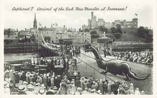 Captured!! Arrival of the Loch Ness Monster at Inverness. Postcard, early 20th century.
