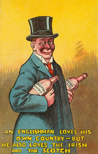 Englishman and his love of Irish and Scotch whisky. Postcard, early 20th century.