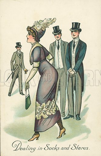 Young woman attracting the attention of young men. Postcard, early 20th century.