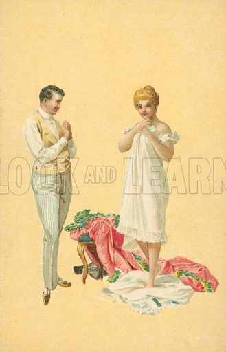 Man and woman undressing. Postcard, early 20th century.
