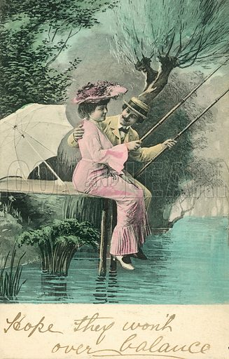 Man and woman fishing on a riverbank. Postcard, early 20th century.