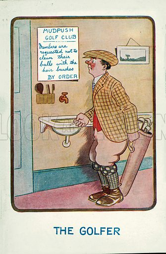 Man in a golf club dressing room reading a notice instructing members not to clean their balls with the hair brushes. Postcard, early 20th century.