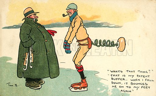 Man with a device for returning him to his feet if he falls down when ice skating. Postcard, early 20th century.
