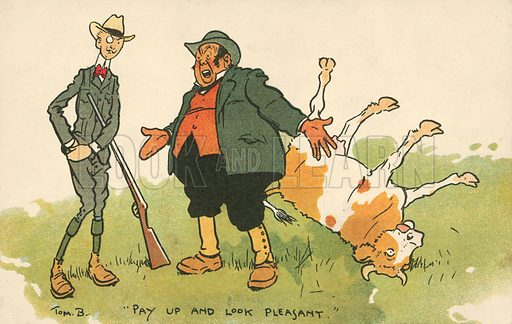 Man paying off a farmer whose cow he has just shot. Postcard, early 20th century.