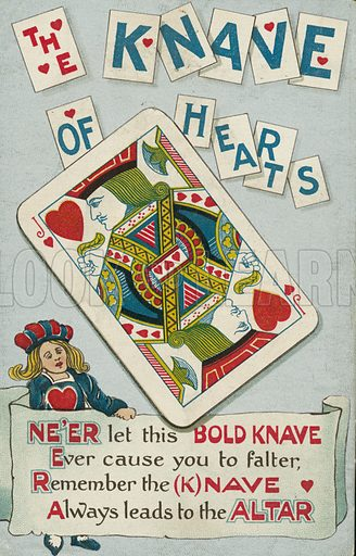 The Knave of Hearts. Postcard, early 20th century.
