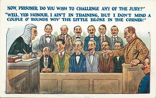 Defendant in court misunderstanding a question from the judge about challenging the composition of the jury. Postcard, early 20th century.
