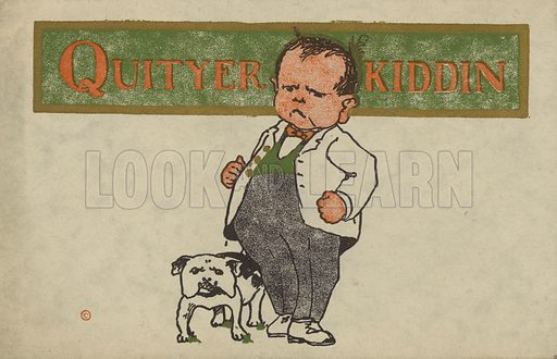 Aggressive man with a bulldog. Postcard, early 20th century.