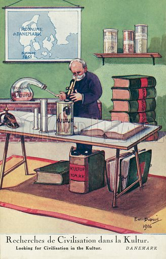 Scientist looking for civilisation in the Kultur, French anti-German propaganda postcard, World War I, 1916. Postcard, early 20th century.