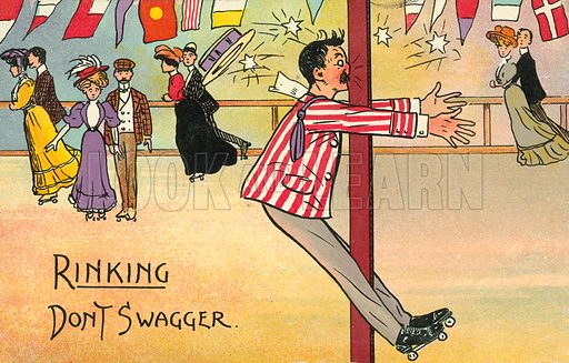 Man colliding painfully with a post at a roller skating rink. Postcard, early 20th century.