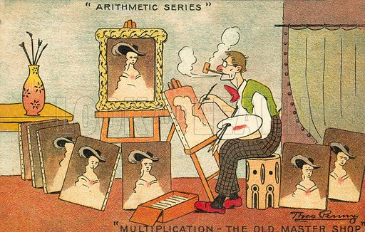 Multiplication: an artist producing copies of a portrait. Postcard, early 20th century.