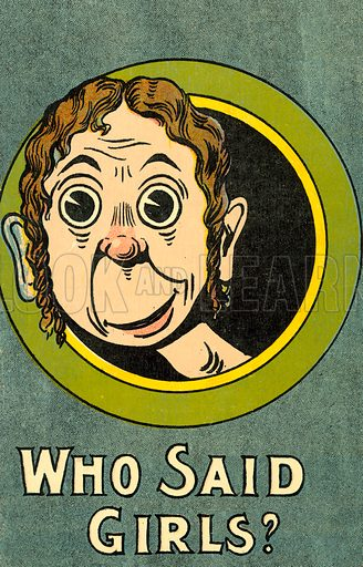 Man looking out of a porthole window at the mention of girls. Postcard, early 20th century.