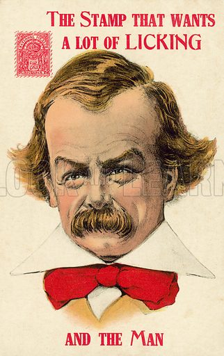 British Liberal politician David Lloyd George and the National Health Insurance stamp introduced by his National Insurance Act of 1911. Postcard, early 20th century.