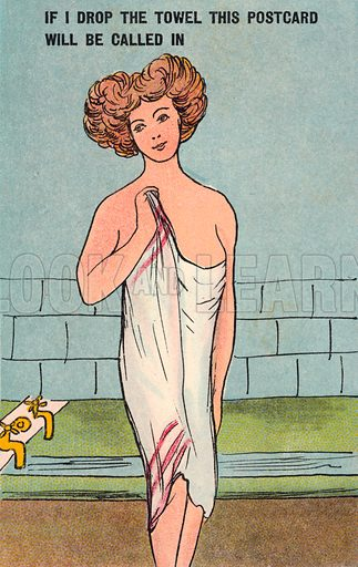 Woman draped in a towel in the bathroom. Postcard, early 20th century.