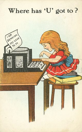 Girl typing a message to someone she loves. Postcard, early 20th century.