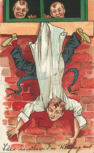 Man being hung upside down out of a window by his coat-tails. Postcard, early 20th century.