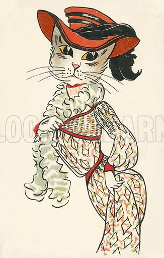 Cat dressed up as a woman. Postcard, early 20th century.