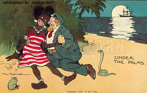 White ship's captain in an embrace with a black native woman on a beach. Postcard, early 20th century.