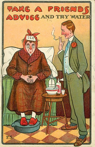 Man offering advice to his sick friend. Postcard, early 20th century.