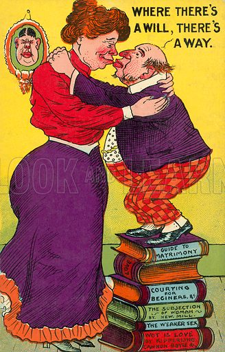 Where there's a will, there's a way: short man standing on a pile of books to kiss a much taller woman. Postcard, early 20th century.