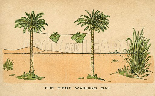 The first washing day: Adam and Eve's fig leaves drying on the washing line. Postcard, early 20th century.