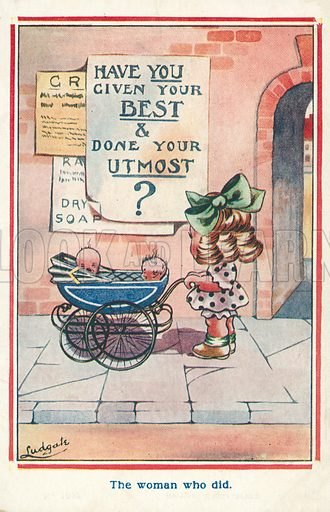 Woman with two babies in a pram reading a notice. Postcard, early 20th century.