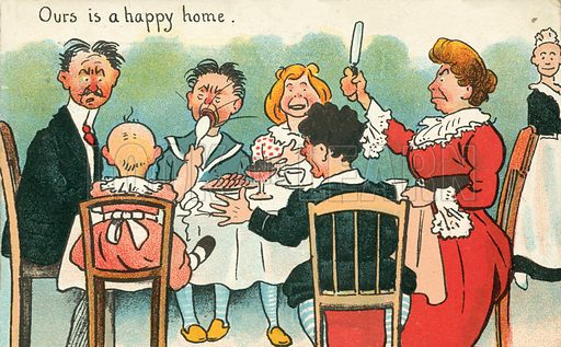 Family squabbles at the dinner table. Postcard, early 20th century.