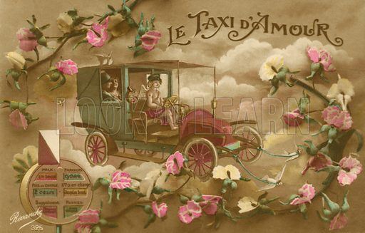 The taxi of love. Postcard, early 20th century.