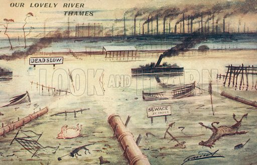Pollution in the River Thames, London. Postcard, early 20th century.