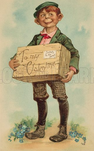 Boy carrying a box of sweets for his Valentine, Valentine's greeting card. Postcard, early 20th century.