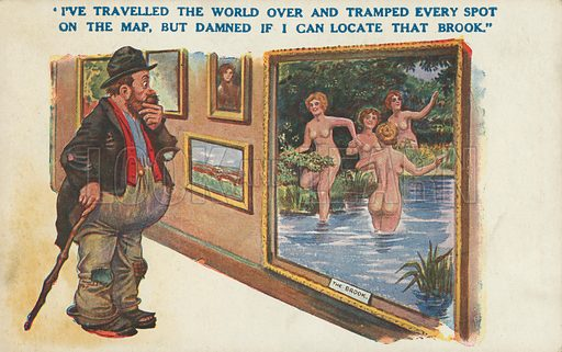 Tramp in an art gallery admiring a painting of naked women bathers at a brook. Postcard, early 20th century.