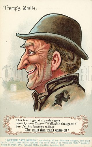 Smiling tramp happy to have had Quaker Oats for breakfast, advertisement. Postcard, early 20th century.
