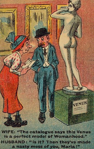 Husband and wife looking at a statue of Venus in an art gallery. Postcard, early 20th century.