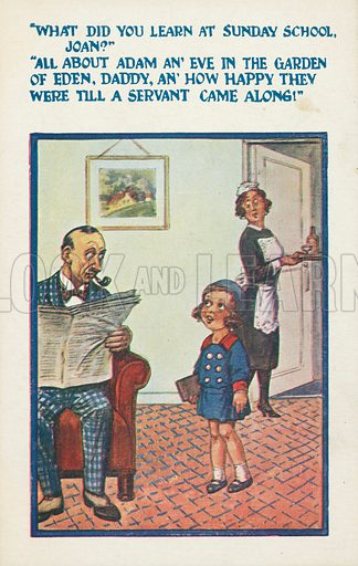 Little girl inadvertently creating an embarrassing situation when telling her father what she learned at school. Postcard, early 20th century.