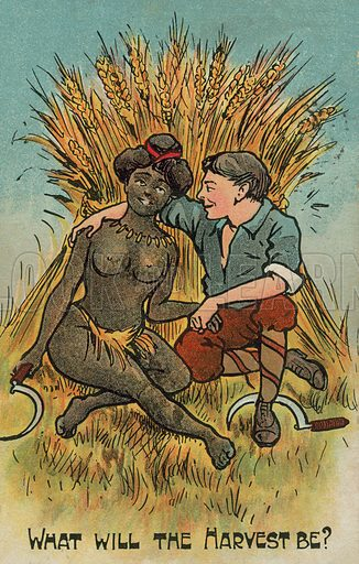 White man and a black woman in love. Postcard, early 20th century.