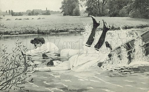 Man and woman falling out of a boat. Postcard, early 20th century.