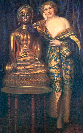 Semi-naked woman dressed in a robe beside a golden statue of the Buddha. Postcard, early 20th century.