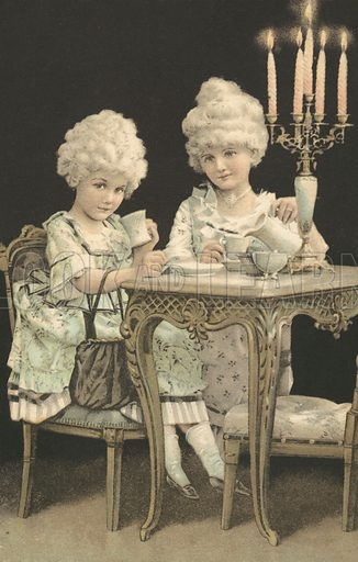 Two young girls in 18th century costume drinking tea. Postcard, early 20th century.
