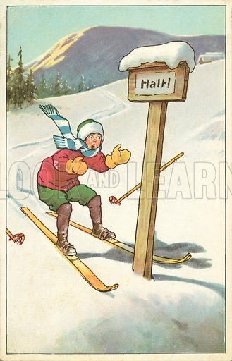 Alpine skier about to straddle a wooden signpost that says 'Halt'. Postcard, early 20th century.