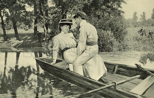 Couple of lovers in a rowing boat. Postcard, early 20th century.
