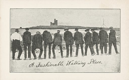 Row of older men urinating on the beach. Postcard, early 20th century.