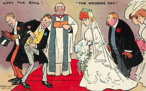 Groom and his best man unable to find the ring on the wedding day. Postcard, early 20th century.