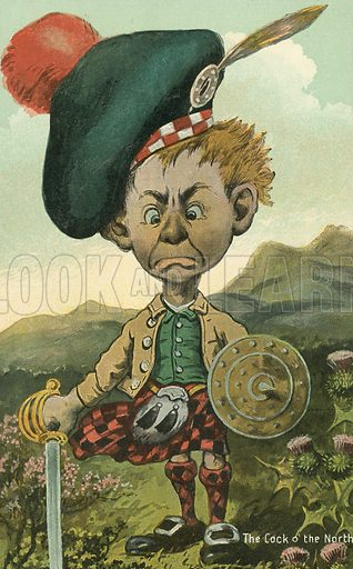 Cock o' the North - man in traditional Scottish dress. Postcard, early 20th century.