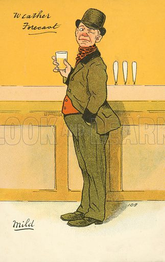 Man standing at a bar with a pint of mild. Postcard, early 20th century.