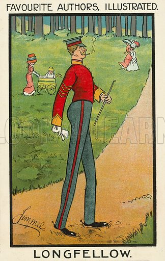 Favourite authors illustrated: American poet Henry Longfellow, as a tall soldier. Postcard, early 20th century.