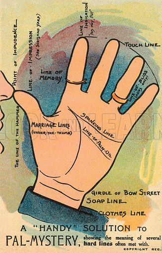 A humorous take on palmistry. Postcard, early 20th century.