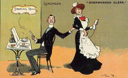 Clerk flirting with a waitress during his lunch break at a cafe or restaurant. Postcard, early 20th century.